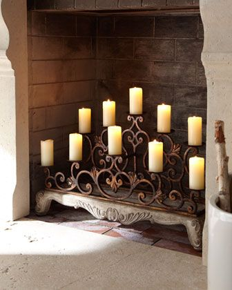 Orante Fireplace Candelabra Candles In Fireplace