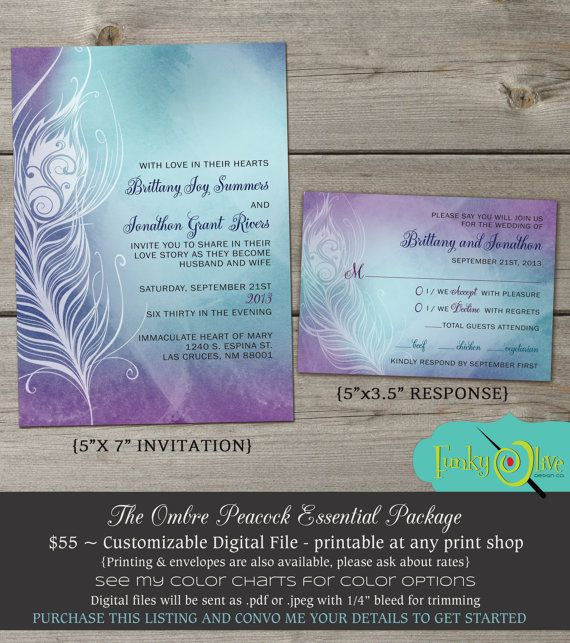 Ombre peacock feather wedding invitation watercolor navy blue turquoise purple printable diy file modern fun shower rehearsal dinner