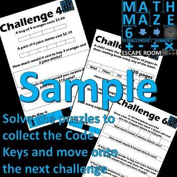 Math Escape Room - Number and 4 Operations, Print and Go ...