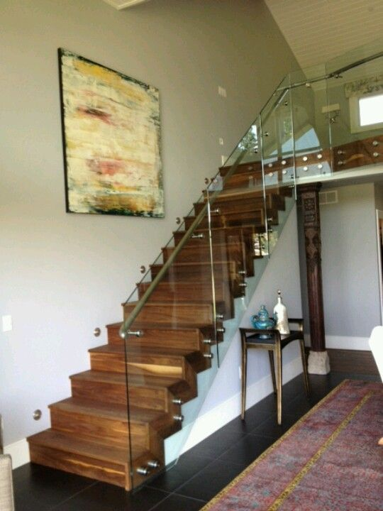 Best 25 Open Staircase Ideas On Pinterest: Closed Riser Staircase With Attached Glass Sheet Railing