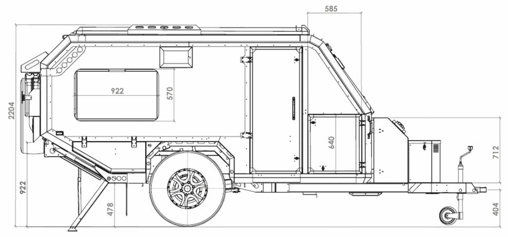 Conqueror Uev 490 Extreme Passenger Side Dimensions Off Road Camper Trailer Off Road Camper Teardrop Camper Plans