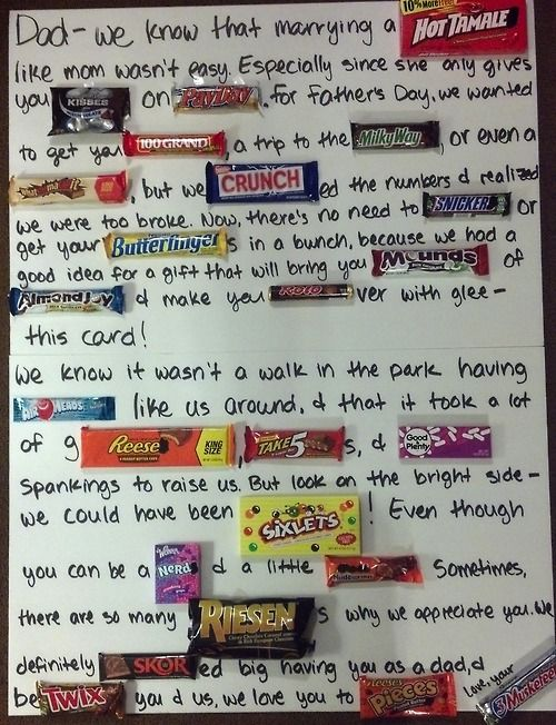 e candy letter made for my dad on fathers day the great thing is