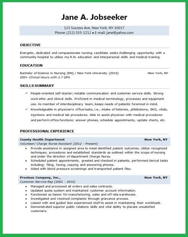 Resume Sample Student Nurse Entry Level Nursing With