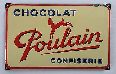 ancienne plaque maill e publicitaire chocolat poulain confiserie d co cuisine cedula. Black Bedroom Furniture Sets. Home Design Ideas