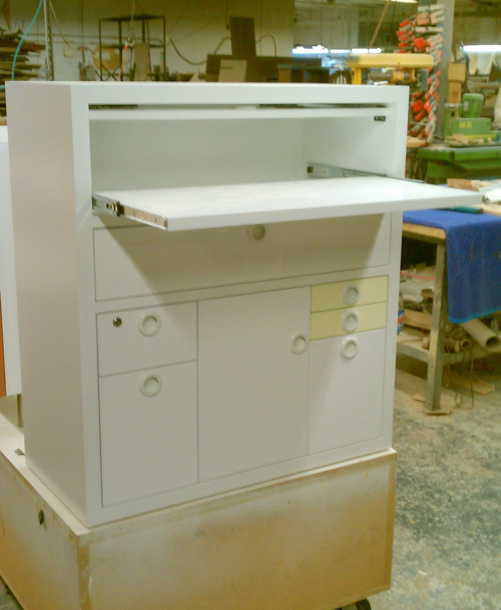 CUSTOM DESK with slide out desk top and pocket door flip down