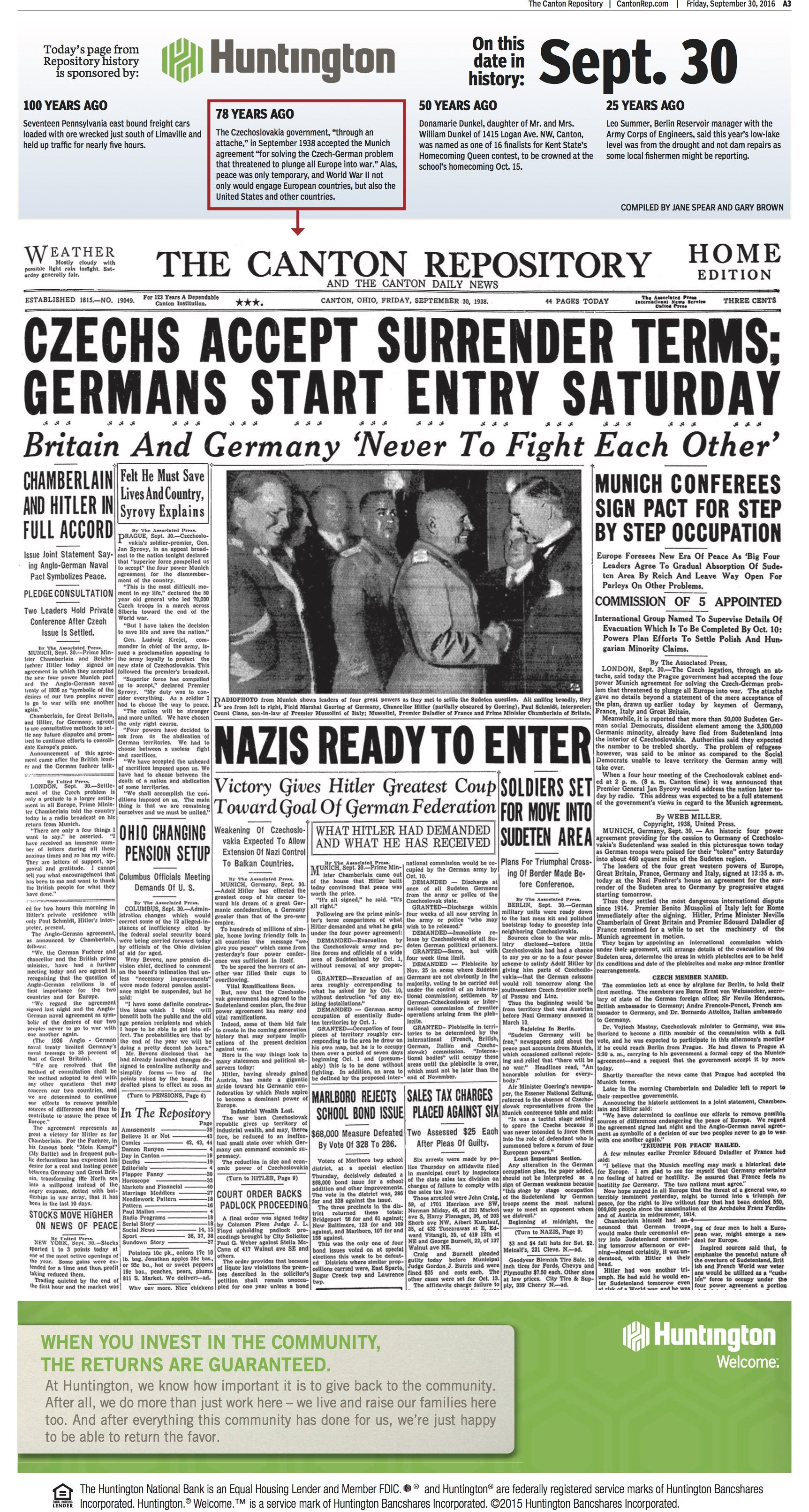 The Munich Agreement Between Germany And Czechoslovakia Was Front