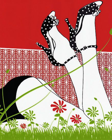 Spring And Polkadots / Fashion Illustration by Mariska, pattern play can be saucy!