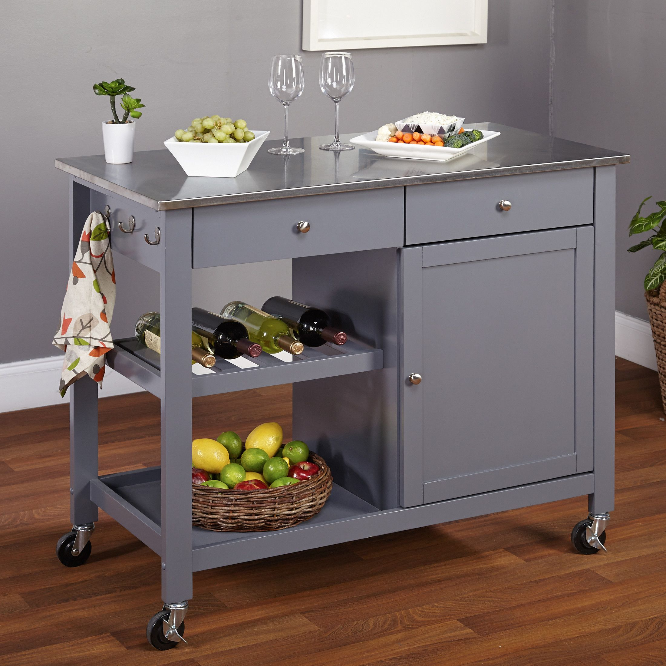 Tms Columbus Kitchen Island With Stainless Steel Top Kitchen