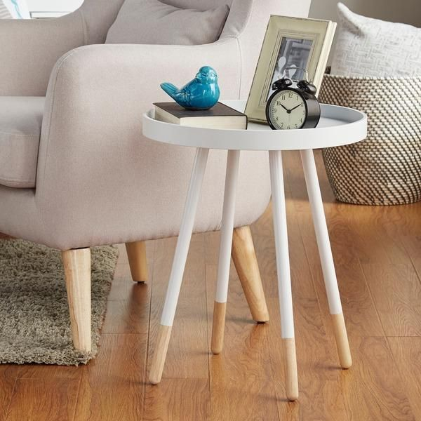 MID CENTURY LIVING Marcella Paint Dipped Round Spindle Tray Top Side Table |