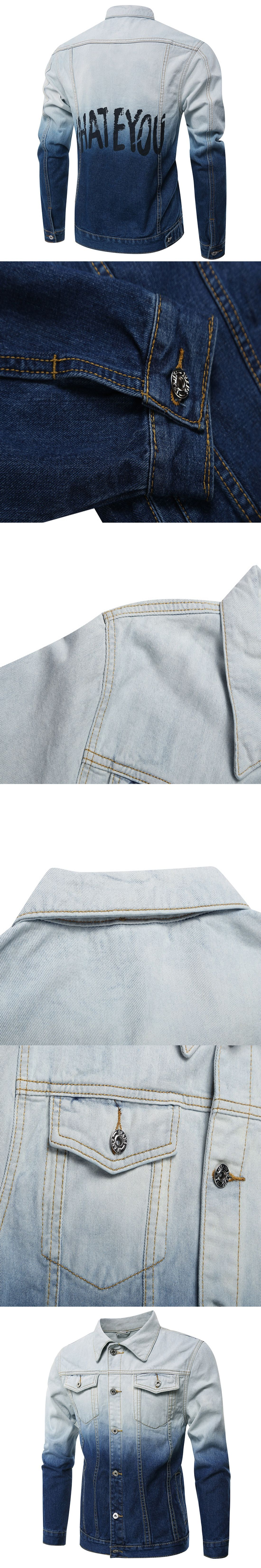 Turn Down Collar Slim Denim Jackets Men Long Sleeve Funny Kpop Jeans