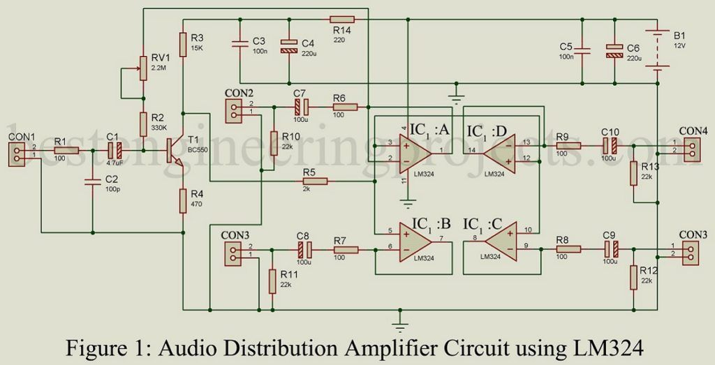 Audio Distribution Amplifier Schematic - AUDIO BARU