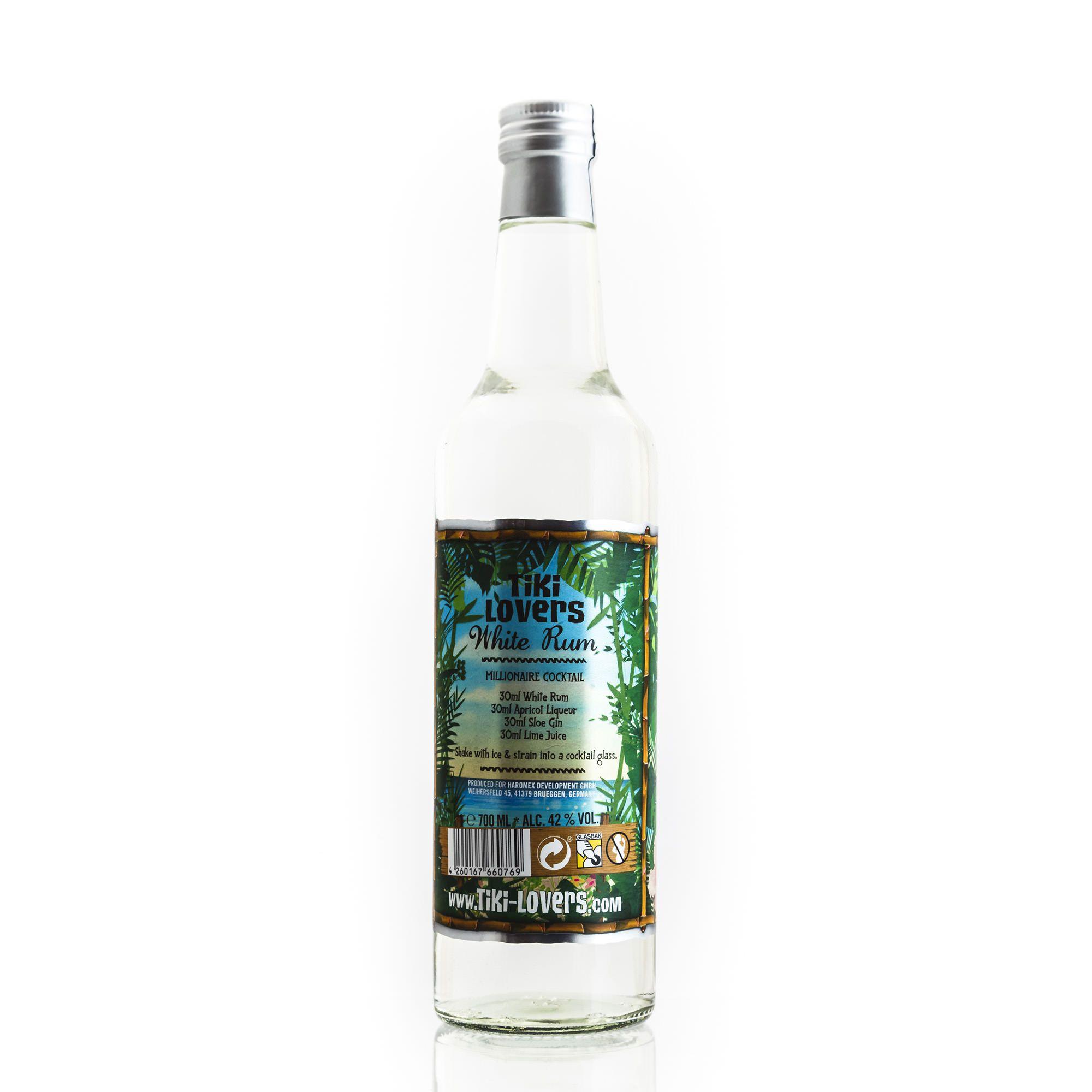 Tiki Lovers Rum White Rum, Bottle, Water bottle