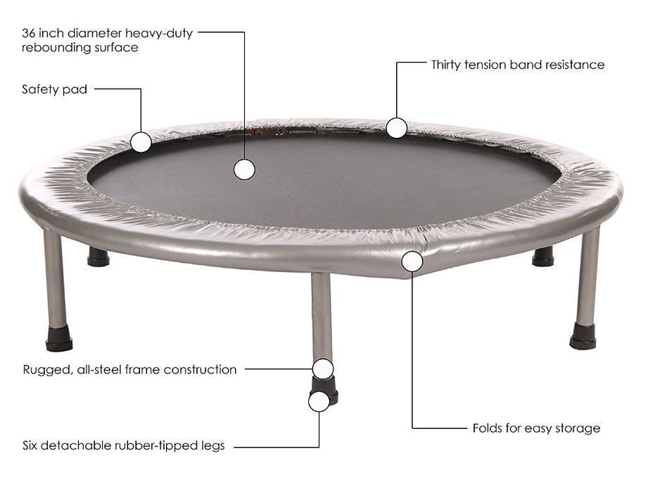 Folding trampoline safety pad exercise stamina fitness