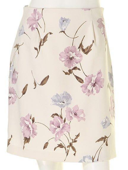 花柄スエードタイトスカート