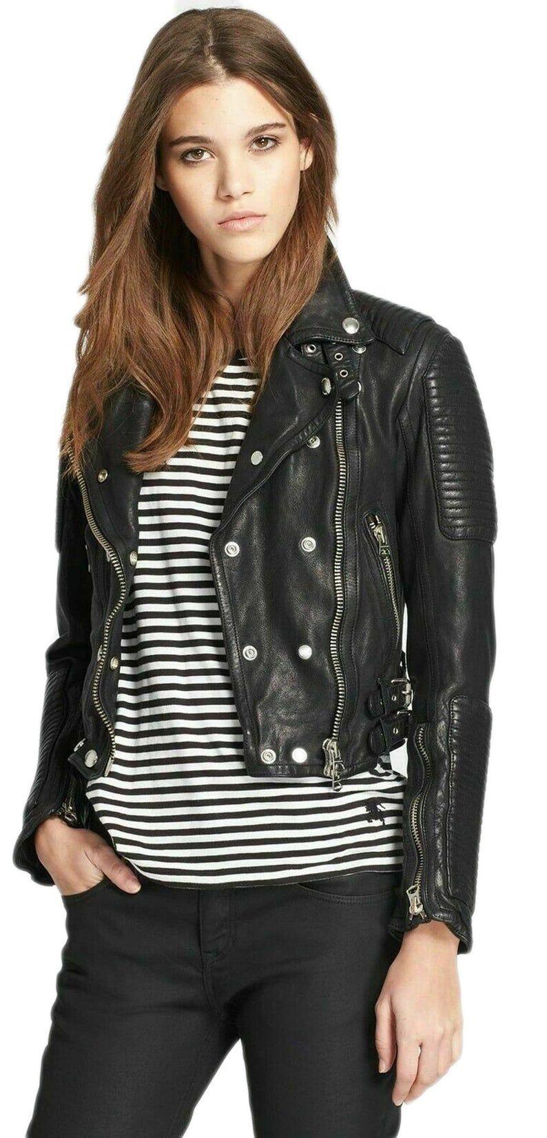 Women/'s Motocycle Lambskin Real Black Leather Jacket