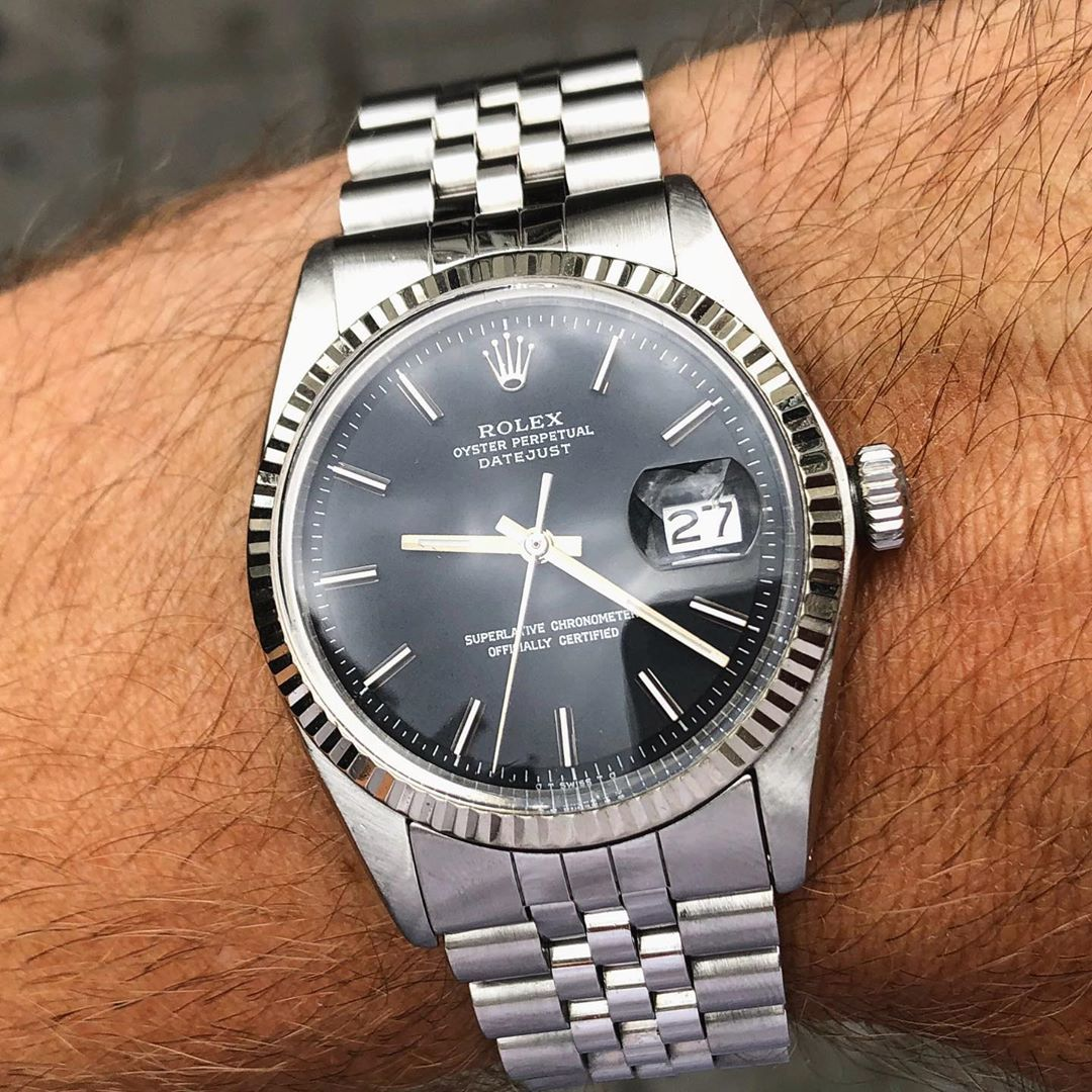 Vintagewatchesforever On Instagram Rolex Oyster Perpetual Datejust Ref 1601 With Nice Black Sigma Dial In 2020 Rolex Watches For Men Rolex Oyster Perpetual Rolex