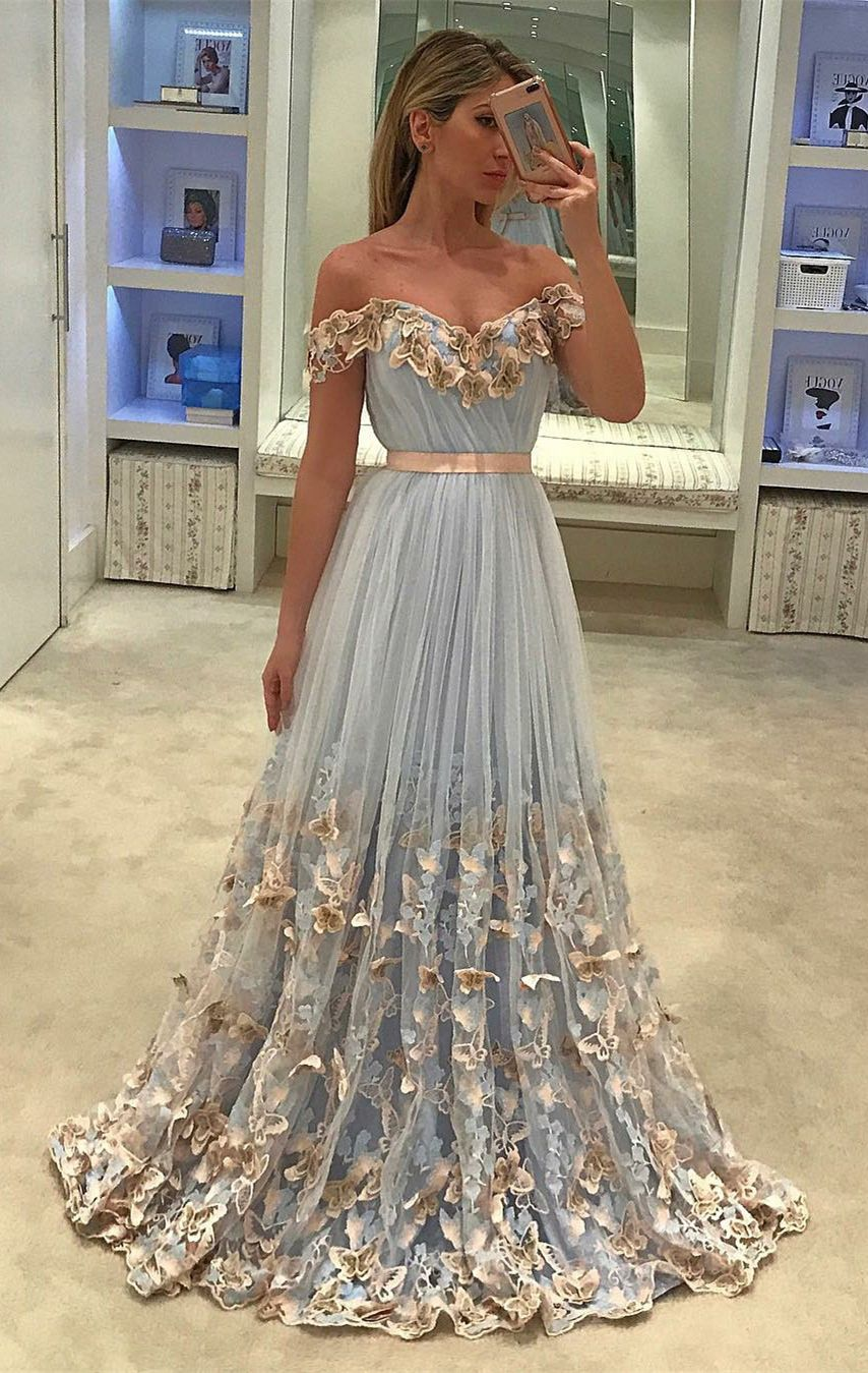Chic off shoulder prom party dresses fashion light blue evening