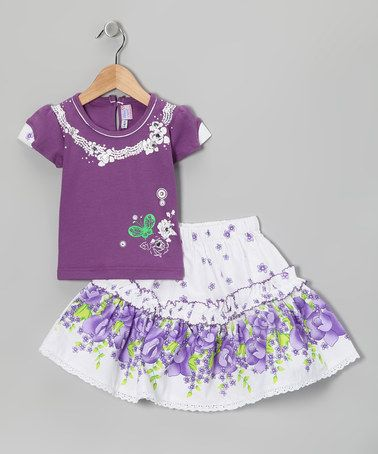 Take a look at this Blue Curl Purple Floral Top & Skirt by Blue Curl on #zulily today!