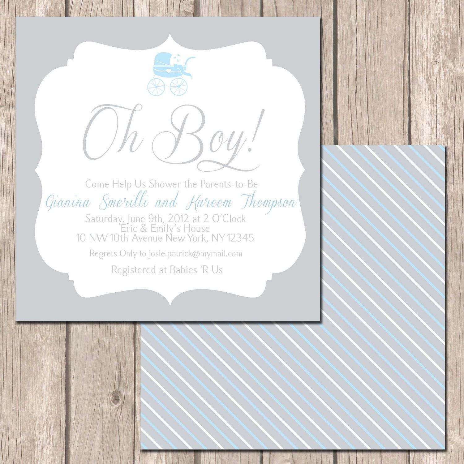 Simple and Traditional Baby Shower Invitation-Baby Boy or Girl ...