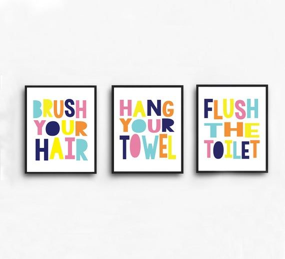 Gender Neutral Bathroom Prints Set of 3 | Pillowfort Colors | Brush Your Hair, Hang Your Towel, Flush the Toilet Prints | Digital Download