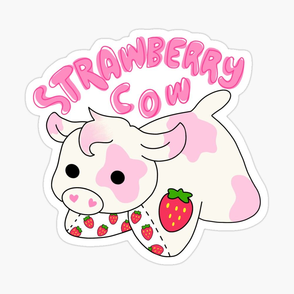 Strawberry Cow Glossy Sticker By Deathmochi In 2020 Cute Stickers Print Stickers Cow Drawing
