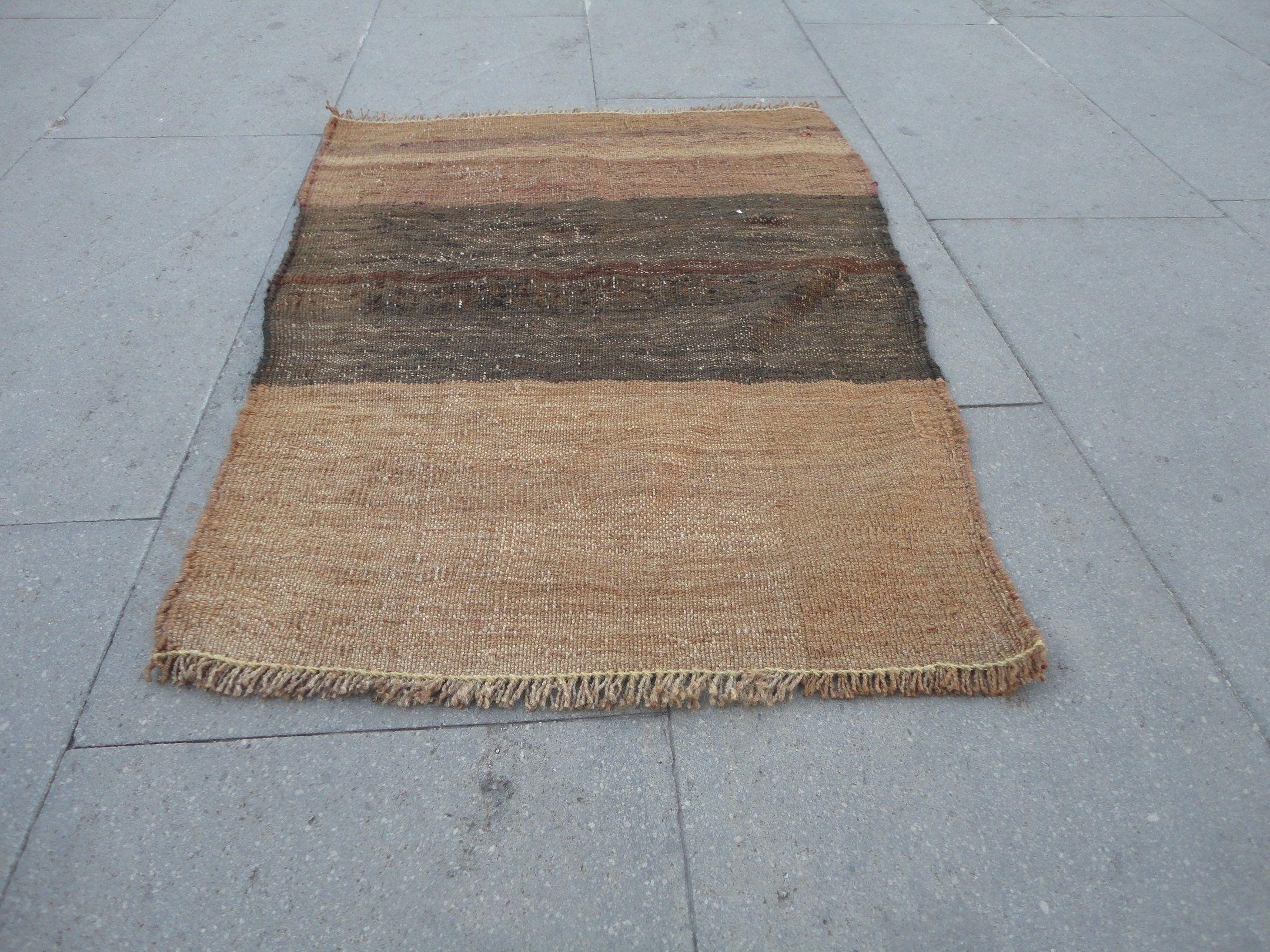 Brown Small Kilim Rug Vintage Doormat Christmas Gift Rug Hand Weaving Rug Mat Entrance Turkish Wool Boho Kilim Carpet 2 5 X 1 8 Ft R Kilims Halilar Kilim