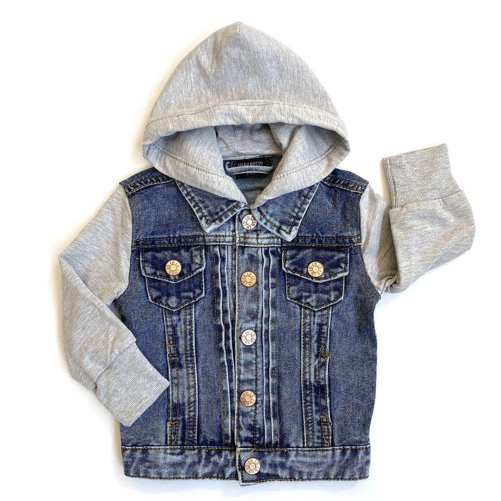 Hooded Denim Jacket Grey In 2021 Stylish Boy Clothes Hooded Denim Jacket Toddler Boy Outfits [ 1024 x 1024 Pixel ]
