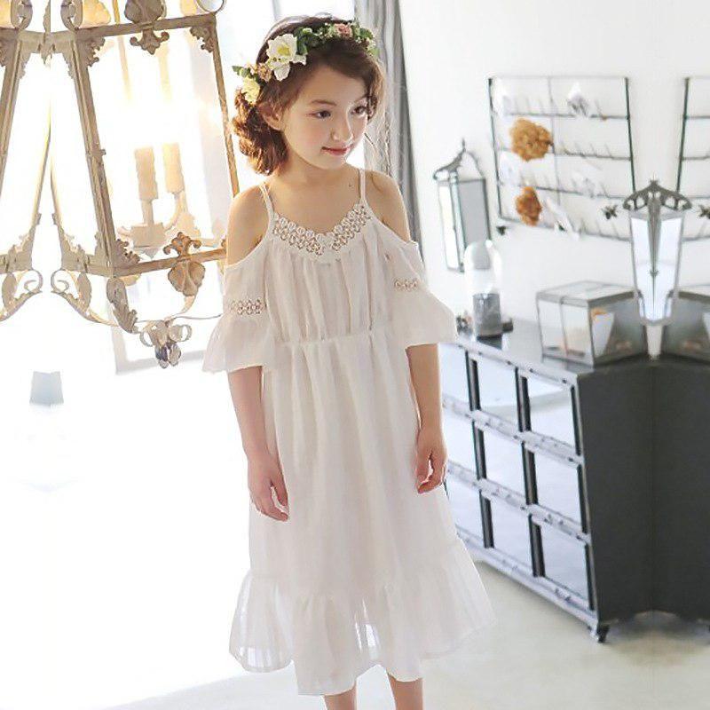 1e53de6d2676 Off shoulder children clothing girls dress summer 2018 maxi long kids  dresses for girls 6 7 10 11 9 13 12 14 years white. Yesterday s price  US   27.87 ...