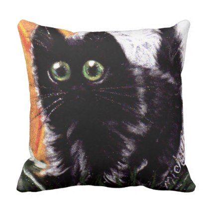 Who Dat Scaredy Cat Throw Pillow - halloween decor diy cyo - halloween decorations black cat