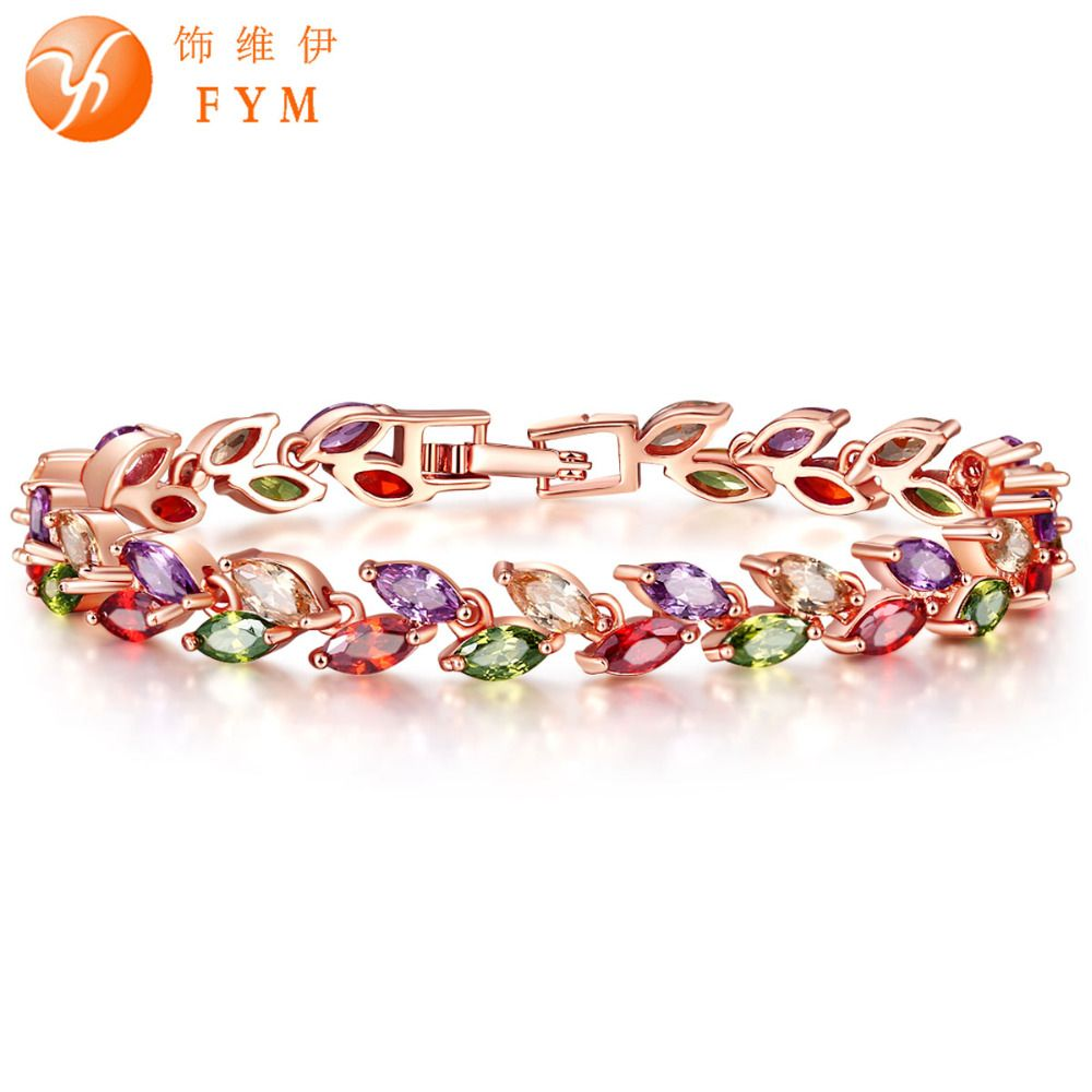 Brand new luxury gold color plant bracelet with colorful aaa zircon