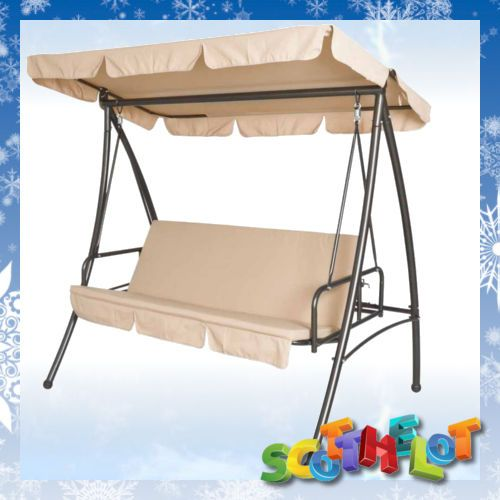 Garden Hammock Swing Chairs Seats Converts To Hanging Sofa Bed Sun Lounger  BEIGE