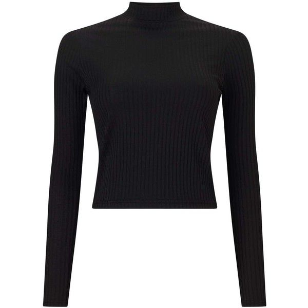 eda5d0d7d Miss Selfridge Black Turtle Neck Crop Top ($22) ❤ liked on Polyvore  featuring tops, black, long sleeve crop top, miss selfridge, polo neck top,  ...