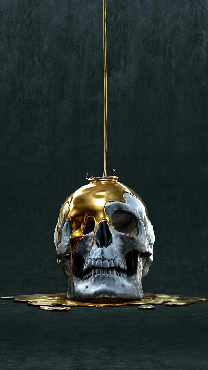 Pin By Loulou Palmer On Skulls Pinterest Gold Wallpaper And