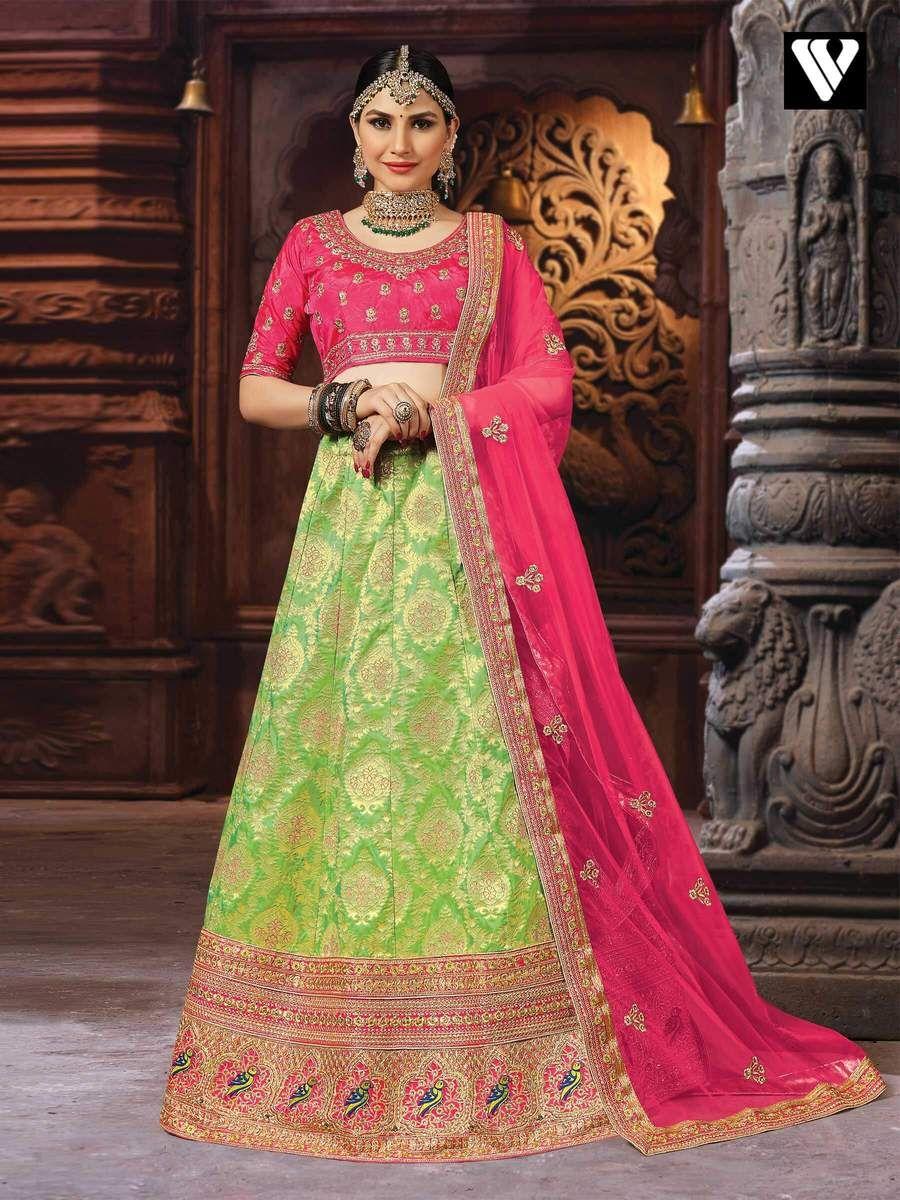 1055aad533 Light Green Color Silk Embroidery Work Designer Lehenga Choli in ...