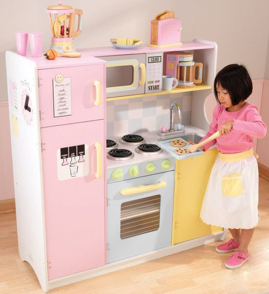 Large pastel play kitchen with refrigerator wooden for Little girl kitchen set