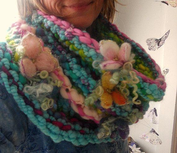 RESERVED - cowl handknit art yarn scarf chunky knit soft - fantasy ...