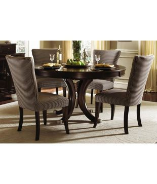 Dream Furniture Teak Wood 4 Seater Luxury Round Dining Table Set