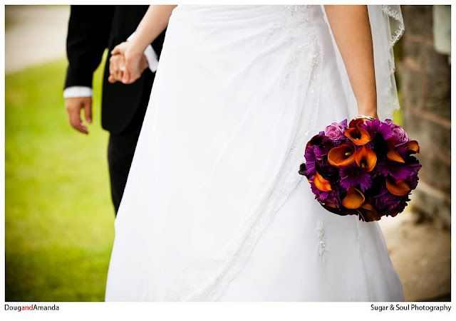 Colorful purple and orange wedding bouquet