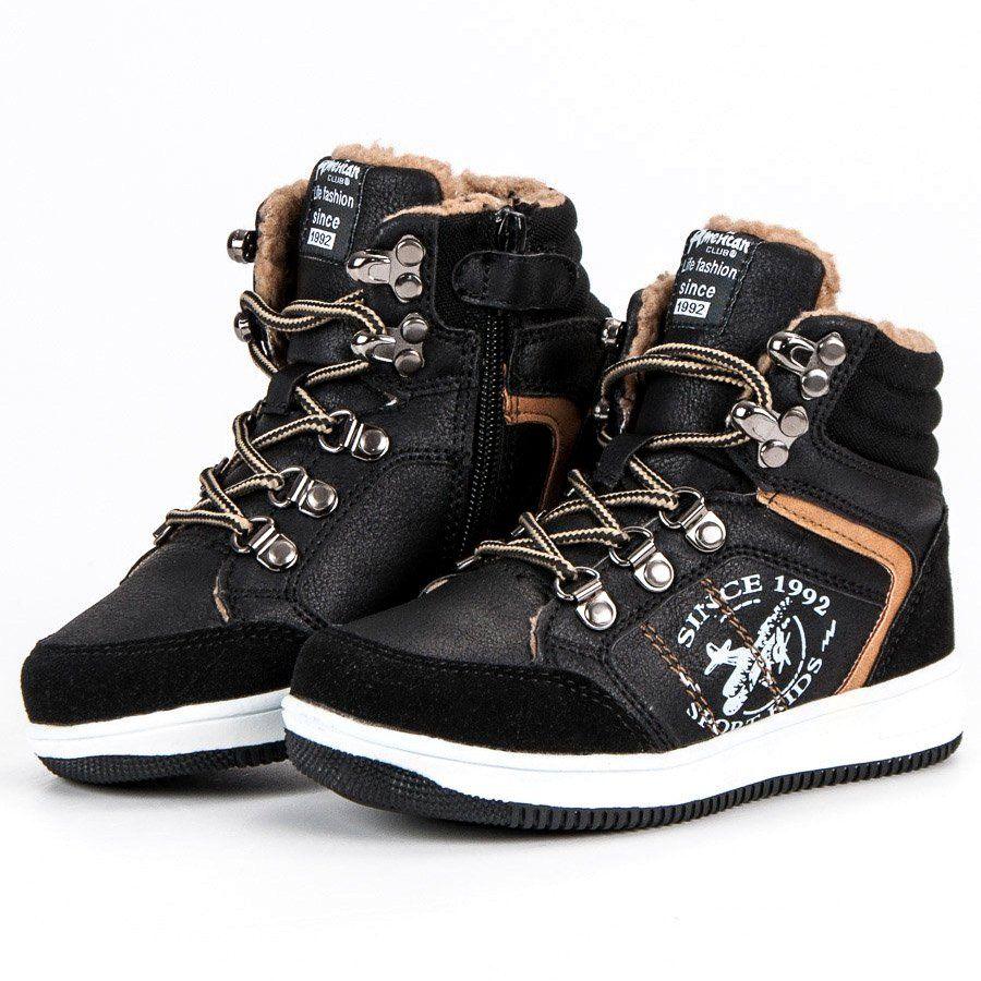 Buty Sportowe Dzieciece Dla Dzieci Americanclub American Club Czarne Ocieplane Sportowe Trampki American High Top Sneakers Sneakers Shoes