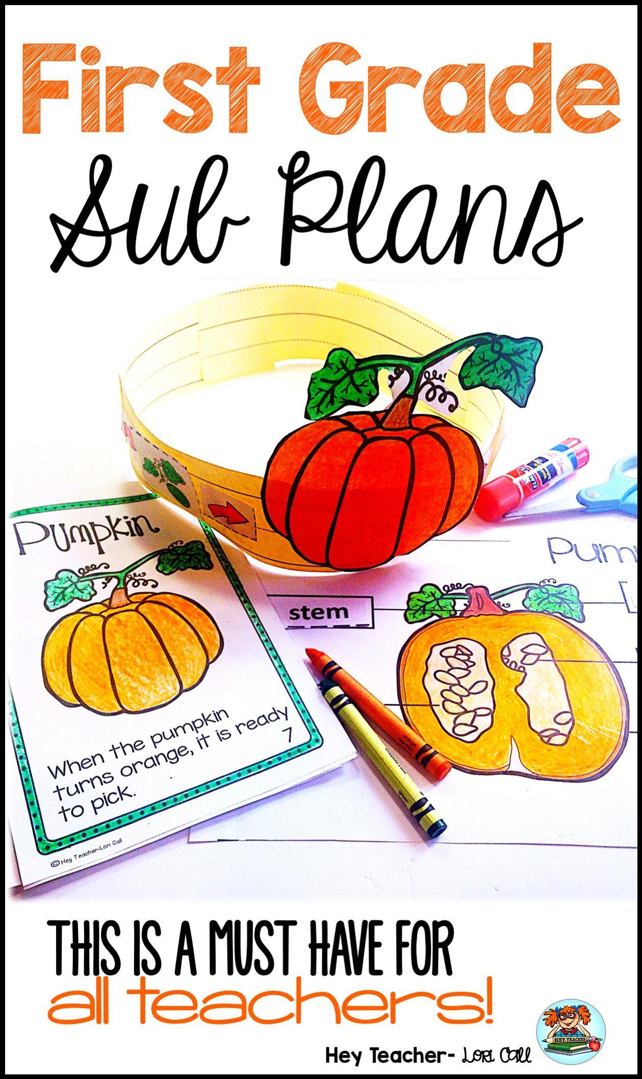 First Grade Sub Plans October Fall