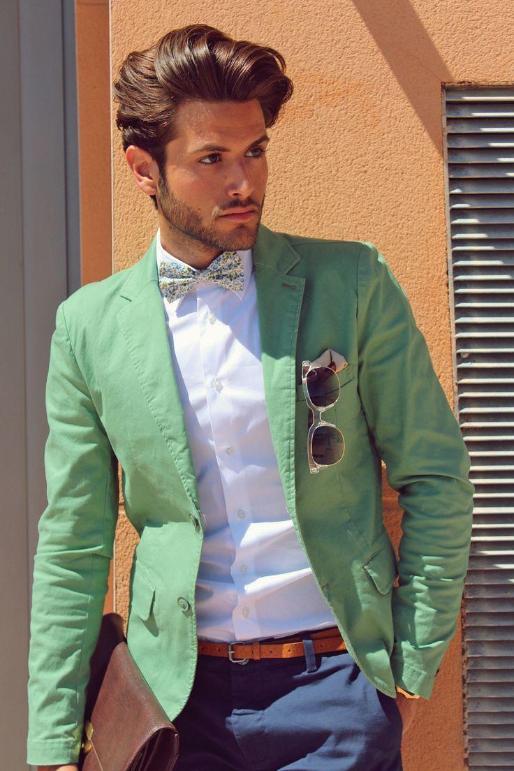 Men S Green Blazer White Dress Shirt Navy Chinos Brown Leather Briefcase Mens Outfits Mens Fashion Blog Mens Green Blazer