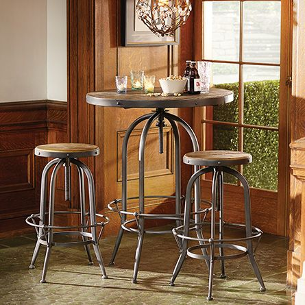 Kensington 32 Round Adjustable Height Bar Table In Barnwood Natural Bar Table Pub Table And Chairs Adjustable Stool