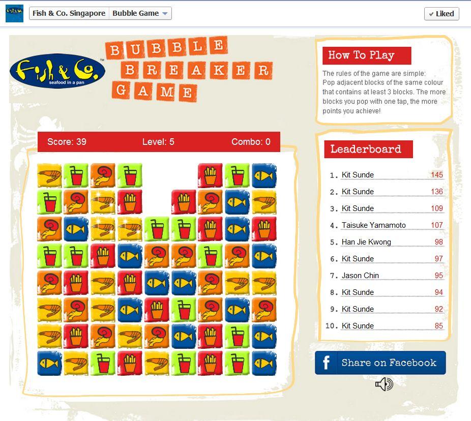 A facebook game for Fish & Co Singapore. 'Fun & addictive