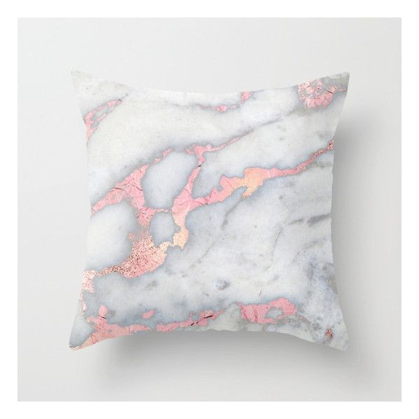 Rosegold Pink on Grey Marble Metallic Foile Style Throw Pillow