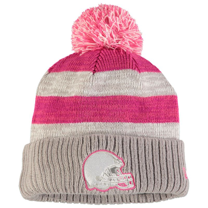 6dd51970f8916 ... denmark cleveland browns new era womens 2016 breast cancer awareness  sideline cuffed pom knit hat gray