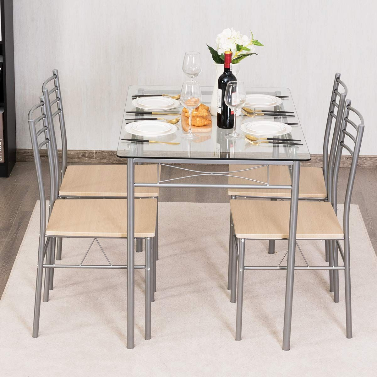 Giantex 5 Piece Dining Set Table And 4 Chairs Glass Top Kitchen Breakfast Furniture More Info Could Be Found At Dining Table Setting Glass Table Dining Set