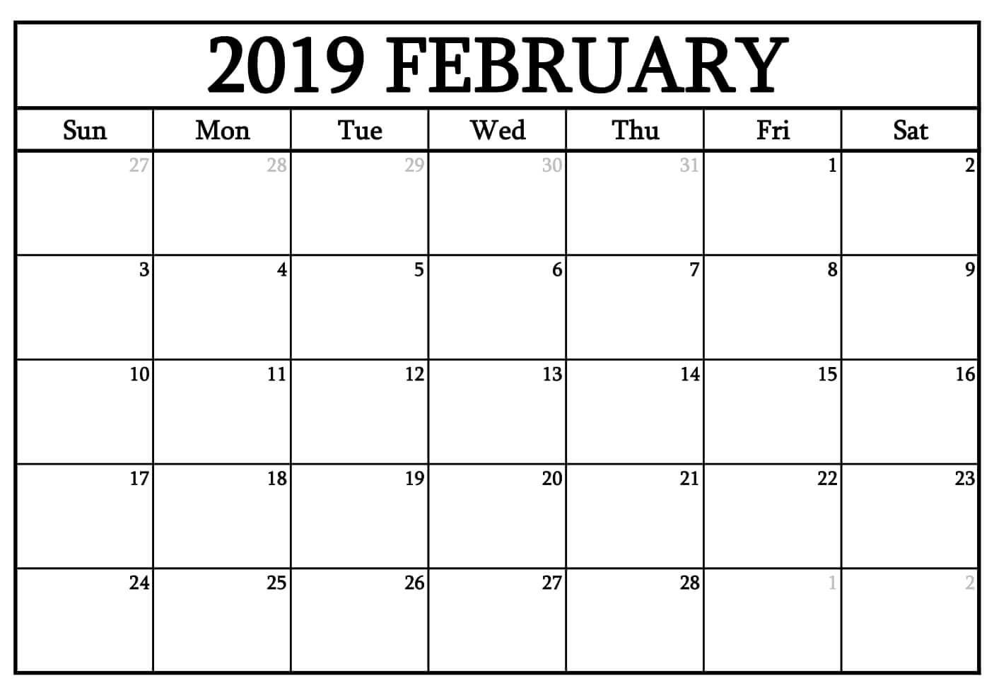 Waterproof February 2019 Calendar february 2019 waterproof calendar | 2019 Calendars | 2018 calendar
