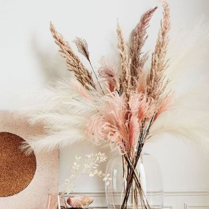 Artificial Pampas Grass Bunch Reviews Crate And Barrel In 2020 Dried Flower Arrangements Pampas Grass Decor Pink Glass Vase