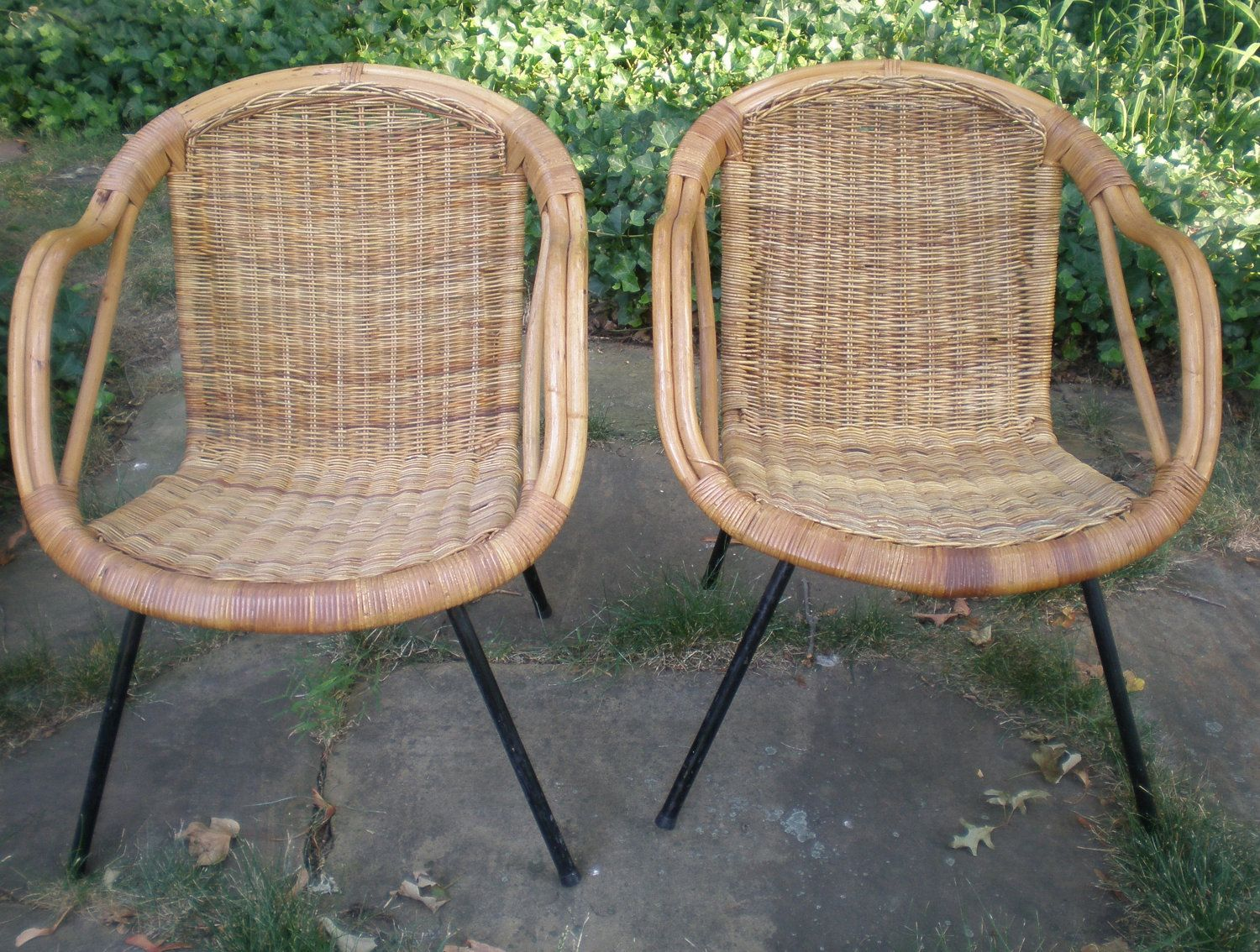 Mid Century Rattan And Iron Chair / PAIR.