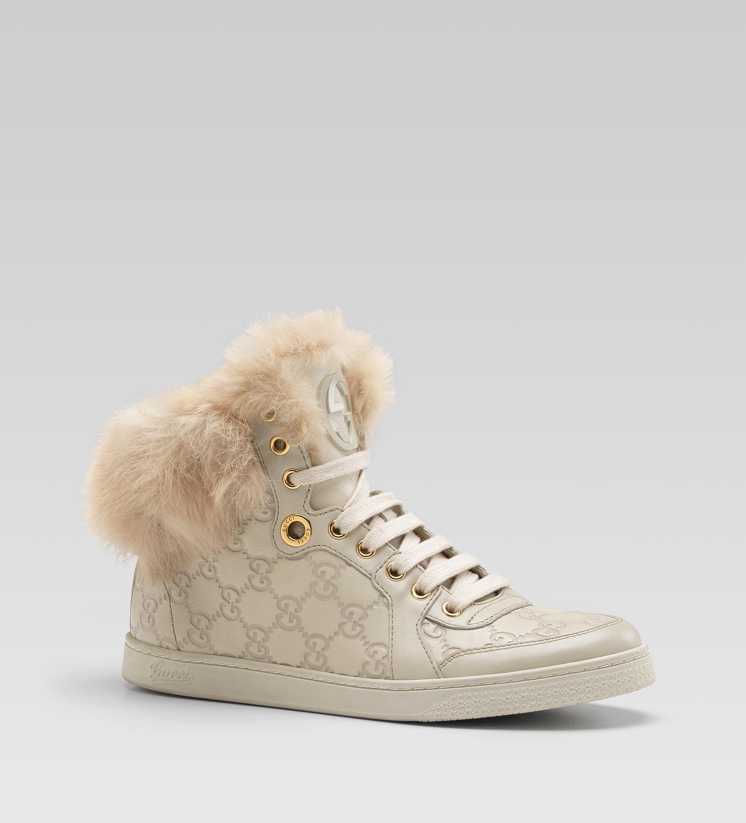 f25e3e075b3 Gucci - coda fur-trim hi-top interlocking G sneaker